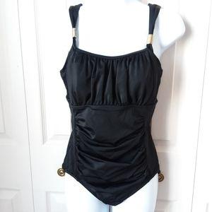 12D Lands' End black tummy control bathing suit